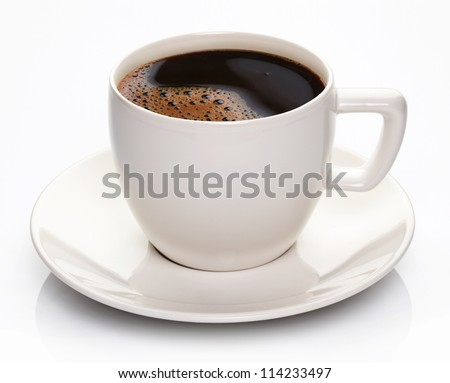 Coffee cup and saucer on a white background. - stock photo