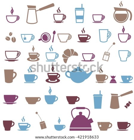 Coffee cup and Tea cup icons. Raster version - stock photo