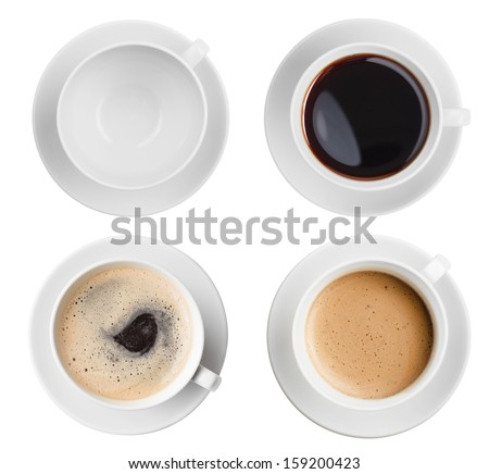coffee cup assortment top view collection isolated - stock photo