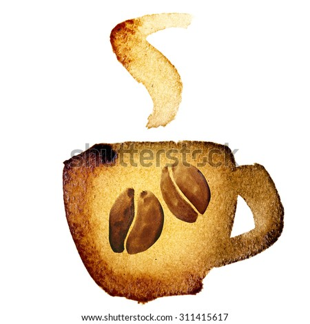 Coffee cup icon isolated over the white background - stock photo