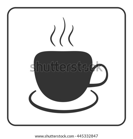Coffee cup icon. Mug for cappuccino, espresso, mocha, latte, coffee, tee drinks. Symbol of hot beverage. Flat graphic style. Black silhouette isolated on white background in frame. illustration - stock photo