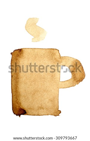 Coffee cup icon painted in real coffee - stock photo