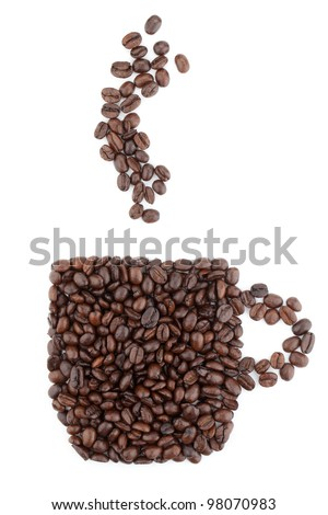 Coffee cup made from beans. Isolated on white background - stock photo