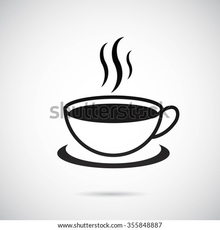 Coffee cup on gray background. - stock photo