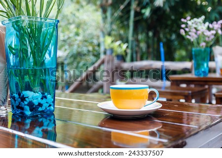 Coffee cup on table in cafe  - stock photo