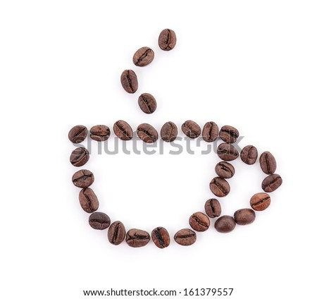 Coffee cup painted with roasted beans - stock photo