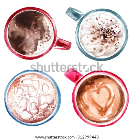 Coffee cup painted with watercolors on white background. The drink and sweets - stock photo