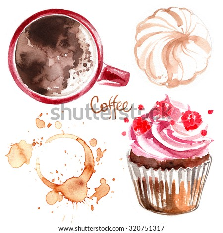 Coffee cup painted with watercolors on white background. The drink and sweets. Abstract watercolor spots, traces of coffee. - stock photo