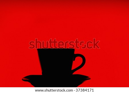 coffee cup silhouette on red background - stock photo