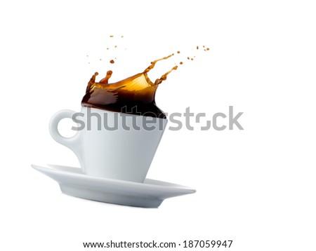 coffee cup splash  - stock photo