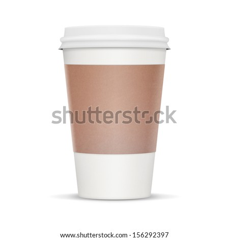 Coffee cup to take away. White blank cup with heat protector. Isolate on a white background with clipping path and lots of copy space. - stock photo