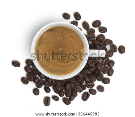 coffee cup viewed from above, with coffee beans  - stock photo