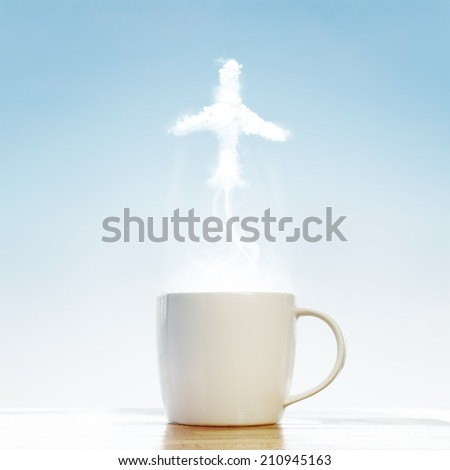 Coffee cup with Airplane symbol  - stock photo