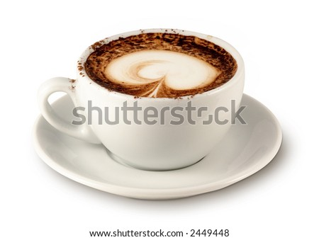 Coffee cup 4 (with clipping path for easy background removing if needed) - stock photo