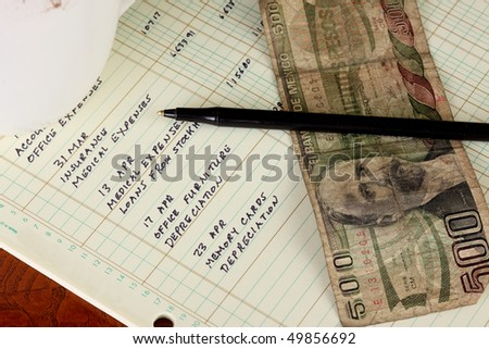 Coffee cup with general ledger sheet showing journal entries and black ballpoint pen with five hundred peso Mexican bank note - stock photo