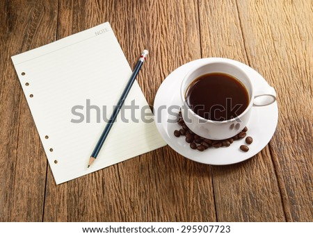 coffee cup with papernote - stock photo