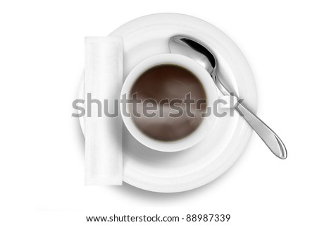 Coffee cup with smoke and white sugar bag - stock photo