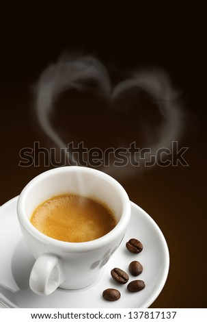 coffee cup with steam in shape of heart - stock photo