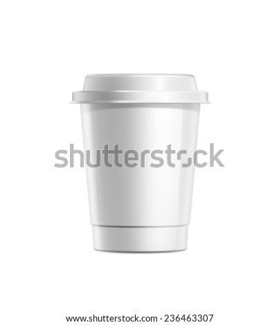 Coffee cup with white plastic lid isolated on white background - stock photo