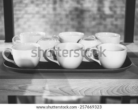 Coffee cups on tray Restaurant concept - stock photo