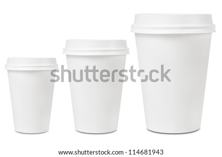 Coffee drinking cup sizes - stock photo