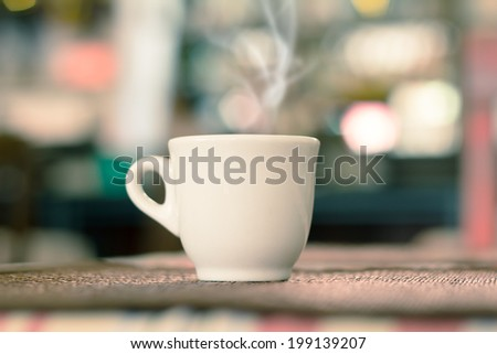Coffee Espresso. Cup Of Coffee in coffee shop, use filtered images  - stock photo