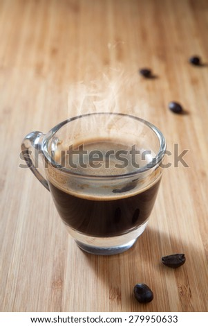 Coffee Espresso. Cup Of Coffee on wooden background - stock photo
