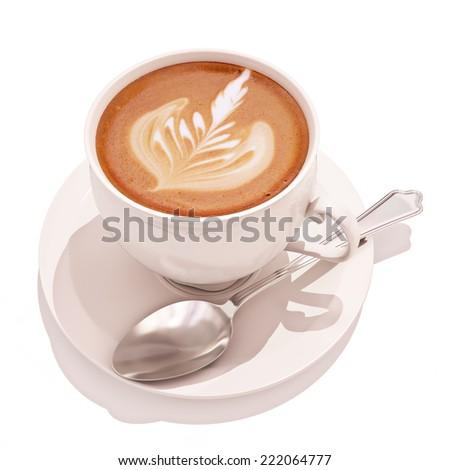 Coffee Espresso latte with design on a white background.  - stock photo