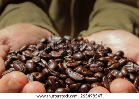 Coffee Farmer Showing Coffee Beans - stock photo