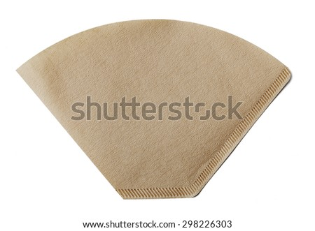 Coffee filter made of paper isolated on white with natural shadow. - stock photo