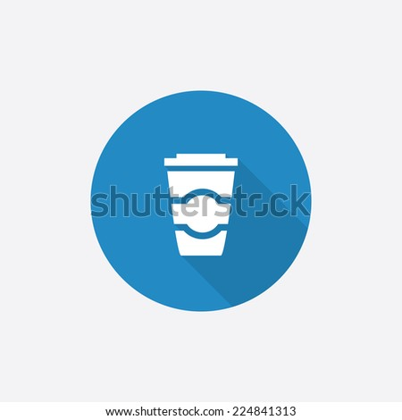 coffee Flat Blue Simple Icon with long shadow, isolated on white background   - stock photo