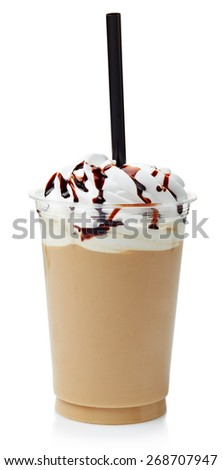 Coffee frappe covered with whipped cream in plastic glass isolated on white background - stock photo