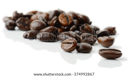 coffee grains isolated on white - stock photo