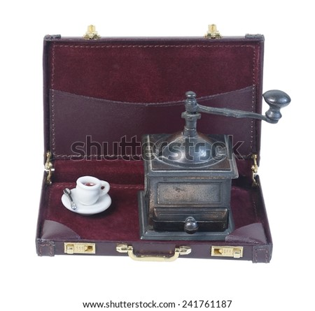 Coffee Grinder and Cup in a Briefcase for the freshest brew at work - stock photo
