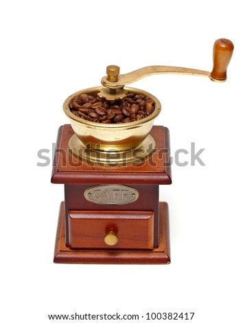 coffee grinder isolated on white background - stock photo
