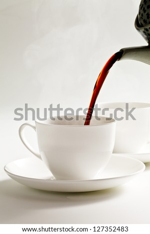 Coffee, hot coffee, pour - stock photo