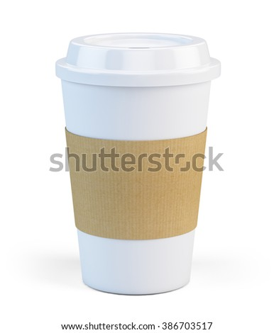 Coffee hot drinking cup isolated on white - stock photo