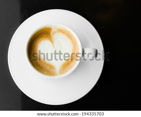 Coffee hot latte in white cup - stock photo