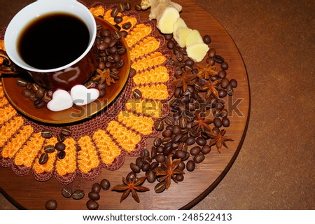 Coffee - I love coffee - Black coffee in a cup, coffee beans and spices and red hearts - stock photo