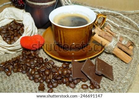 Coffee -  I love coffee - coffee  beans , coffee and chocolate - stock photo
