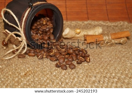 Coffee - I love coffee- Coffee beans in a jar - stock photo