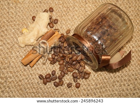 Coffee - I love coffee- Coffee beans in a jar and spices - stock photo