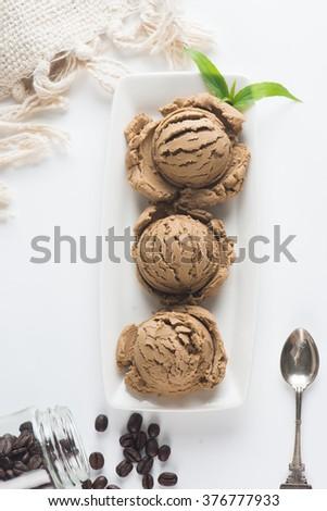 coffee ice cream - stock photo