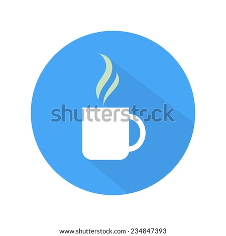 Coffee icon cup on blue and white background. Flat style. Raster version - stock photo