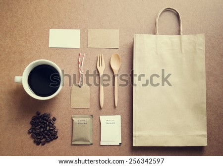Coffee identity mockup set with retro filter effect - stock photo