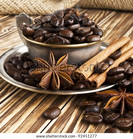 coffee in a silver cup - stock photo