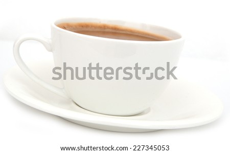 coffee in a white cup and saucer - stock photo