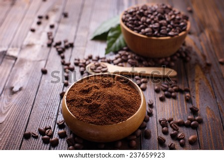 Coffee in bowl on wooden background. Selective focus. - stock photo