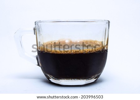 coffee in glass cup, isolated on white background. - stock photo