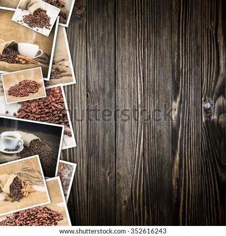 Coffee in photos on a wooden background. - stock photo